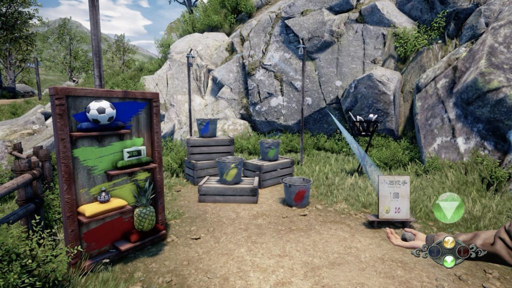 pail toss blue bucket for soccer ball in shenmue 3